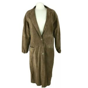 Vintage 90's Suede leather jacket  tan trench coat